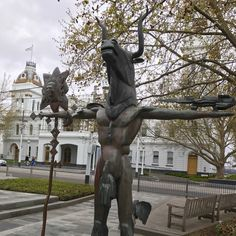 The Minotaur sculpture outside the Malvern town hall