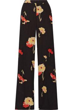 Etro - Printed Silk-crepe Wide-leg Pants - Black - IT46