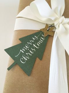 Set of 10 custom hand lettered gift tags. - Ready made, ready to ship. - Each tag is measures 4 (height) x 2.2 (width) - Include 12 black