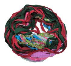New! Premium Sari Silk Chiffon Printed Ribbon , Q, 100g