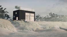 Funktionellt Attefallshus med kubisk volym och taklutningen dold bakom en sarg. Rymlig interiör och sovloft med full bredd. 629.000 kr med allrum, kök, badrum ...