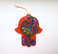 Hamsa Wall Art Mehndi Inspired Design Flower Paisley Hand Painted Wood Hand of Fatima Decor