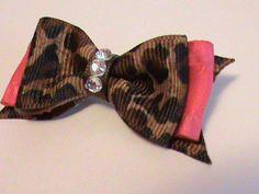 Hot Pink and Cheetah Print Dog Hair Bow