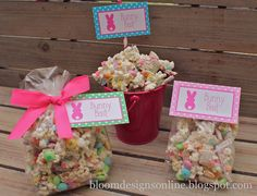 Bunny Bait-pretzels, popcorn, Chex, Easter sprinkles and M & M's with white chocolate