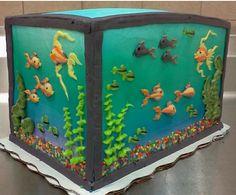 Fish tank cake