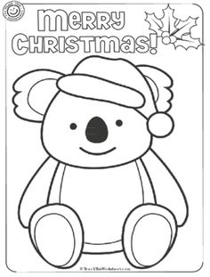 Koala Christmas Colouring from teachthisworksheet.com