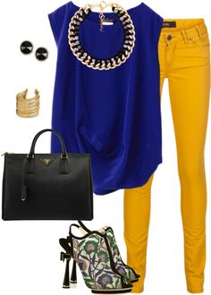 Blue with skirt or skinny jeans