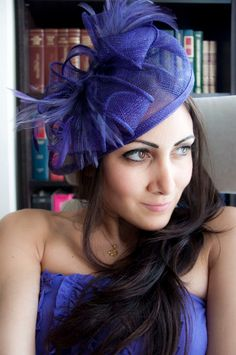 PENNY Purple Mesh Royal Hat Feather Fascinator by EyeHeartMe, $54.00