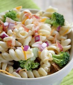 Pasta Salad with broccoli, onions, cheddarandbacon - best pasta salad Ive had in ages! been looking for a new pasta salad.