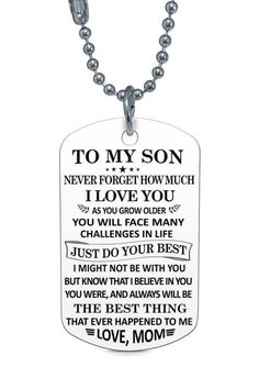 Beautiful To My Son Necklace From Mom