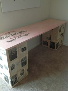 Furniture Makeover to DIY desk! Thought this was a neat idea. Make it your own.