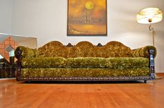 Gothic Mid Century Crushed Green Velvet by DirtyGirlsAntiques