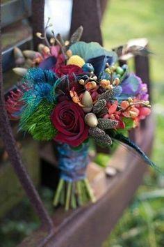 Peacock/Jewel Toned Wedding Bouquet