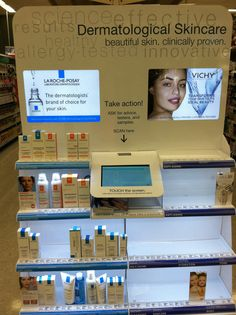 Walgreens has a touch screen endcap that helps shoppers find what products fit them (skin care).
