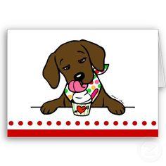 Adorable Chocolate Labrador Cartoon Greeting Cards. Designed by Naomi Ochiai from Japan