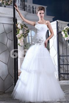 Tulle One-Shoulder Natural Mermaid Sleeveless Layers/Crystals/Appliques/Beading/Sequins Lace-up Ivory Floor-length Modern Wedding Dress