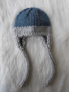 Hand Knit Baby Hat Ear Flap Earflaps Blue Gray by LittleBirdLucy, $25.99