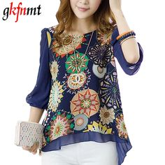 Cheap chiffon blouse, Buy Quality women blouses directly from China women blouse fashion Suppliers: 2018 New Spring Summer Women Blouses Fashion Casual Female Tops Loose Pleats Retro Printed Blusa Chiffon Blouse Plus Size Shirt Plus Size Shirts, Plus Size Blouses, Look Fashion, Fashion Outfits, Street Fashion, Chiffon Shirt, Blouse Styles, Corsage, Shirt Blouses