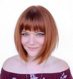 Top 60 Flattering Hairstyles for Round Faces A-Line Bob With Straight Bangs. Bob Haircut For Round Face, A Line Haircut, Bob Hairstyles For Round Face, Bob Haircut With Bangs, Choppy Bob Hairstyles, Cool Haircuts, Round Face Bangs, Short Hair With Bangs For Round Faces, Curly Hairstyle