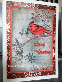 Sizzix snowflake embossing folder, Dina Wakley scribbly birds on branches, Distress inks
