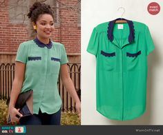 Beth's green top with blue scalloped collar on Chasing Life.  Outfit Details: http://wornontv.net/45087/ #ChasingLife