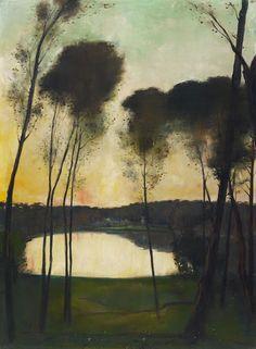 Lesser Ury (1861-1931), Abendstimmung am Grunewaldsee - 1910