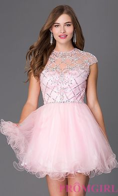 a4815a82c07 Short Elizabeth K Cap Sleeve Prom Dress. Shop Prom Girl for prom dresses