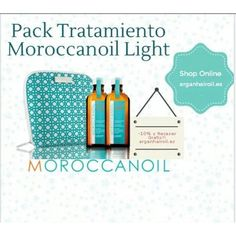 Moroccanoil pack dúo aceite de tratamiento light 100 ml.  Promoción exclusiva con un diez por ciento de descuento y un exclusivo neceser Moroccanoil de regalo.  Incluye:  Dos unidades del aceite de tratamiento Moroccanoil Light de 100 ml c/u.  Un neceser Moroccanoil.  Los tratamientos incluyen dosificadores.  Promoción limitada a 50 unidades.