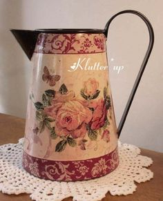Chic-Victorian-Shabby-Country-10-Tall-TIN-PITCHER-VASE-w-ROSE-BUTTERFLIES