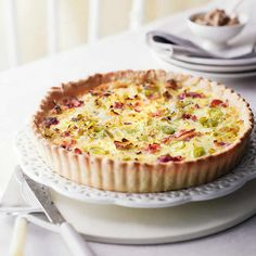 Recipe for leek and bacon pie, a delicious quiche ideal with a green salad. this is how to make leek and bacon pie easily. Bacon Pie, Tart Recipes, Salted Butter, Baked Beans, Cheddar Cheese, Macaroni And Cheese, Food And Drink, Yummy Food, Favorite Recipes