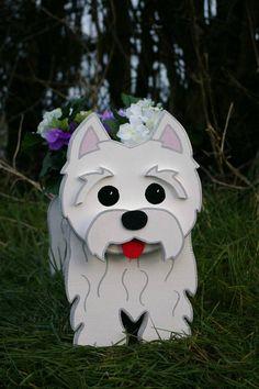 West Highland Terrier (Westie) Pflanzer. Handgefertigt und Hand bemalt. Kann drinnen und im Freien verwendet werden. Ein einzigartiges Geschenk für alle Tierliebhaber.