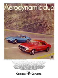 Camaro & Corvette 1968 Brochure Aerodynamic Duo