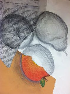 From Draws Attention.....creating form with value using graphite, charcoal and colored pencil Elements Of Art Color, Sketchbook Assignments, Middle School Art Projects, Art Projects For Teens, 7th Grade Art, Gcse Art Sketchbook, Observational Drawing, Value In Art, Ap Studio Art