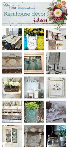 20+ Thrifty Farmhouse Decor Ideas via   Hometalk --- GREAT ideas! Especially love the shelves and wooden range   hood.