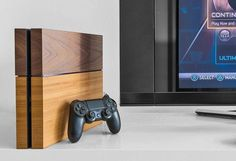 Wooden Playstation cover.