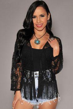 Black Lace Fringe Accent Cardigan Kimono