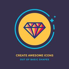 Article in creating icons out of basic shapes is live on Icon Utopia! Link in the bio. #diamond #shiny #bling #illustration #icon #icondesign #graphicdesign #graphic #outline #shapes #iconography