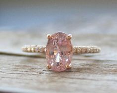 2.50 Cts. Champagne Peach Sapphire Diamond Ring in 14K  Rose Gold