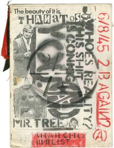 Cover of anarchist magazine, photocopied and stencilled, by unknown artist. Early 1980s.