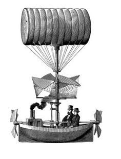 Vintage Clip Art - Fantastic Steampunk Airship - The Graphics Fairy