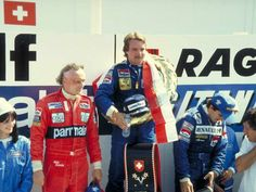 Three world champions on the podium after the 1982 Swiss GP (the last ever Swiss GP to date) - Lauda (3rd), Rosberg (winner) and Prost (2nd)