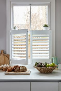 Cafe Style Shutters for Sash Windows by Plantation Shutters Ltd Cafe Style Shutters, Cottage Shutters, Kitchen Shutters, White Shutters, Interior Window Shutters, Diy Shutters, Curtains With Plantation Shutters, Kitchen Windows, Traditional Shutters