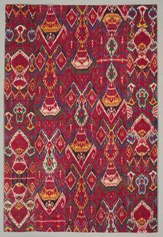 Silk Ikat Wall Hanging, 1800-1850 Uzbekistan, Bukhara, first half of the 19th century silk warp, cotton weft; warp ikat, warp-faced plain weave, Overall - h:208.90 w:141.60 cm | Cleveland Museum of Art