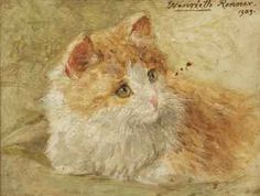 Henriette Ronner-Knip (Amsterdam 1821-1909 Elsene)  Ginger and white  signed and dated 'Henriette Ronner. 1903.' (upper right)  oil on panel  12.8 x 18.1 cm. private collection