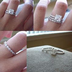 Promise ring, engagement ring, and wedding band. Love this! <3