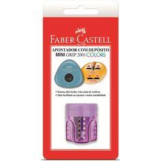 Apontador c/deposito mini grip SMMGRIP Faber Castell - Escolar - Kalunga.com