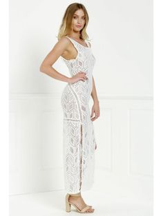 4959a72a7e6 Hollow Back Openwork Lace Hook Slit Dress - WHITE XL Maxi Dress With Slit