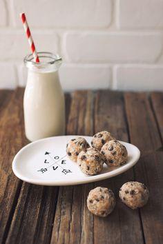 vanilla bean almond milk and chocOlate chip cookie dough balls