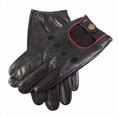 TimGarner.co.uk | Dents | Dents Men's Leather Driving Gloves - Black and Red