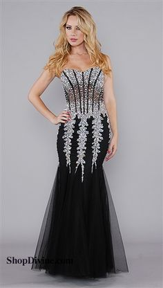 Jovani Black and Silver Sequin Long Dress